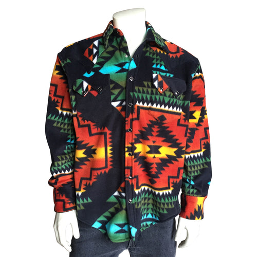 Men's Native Pattern Fleece Western Shirt in Black & Red