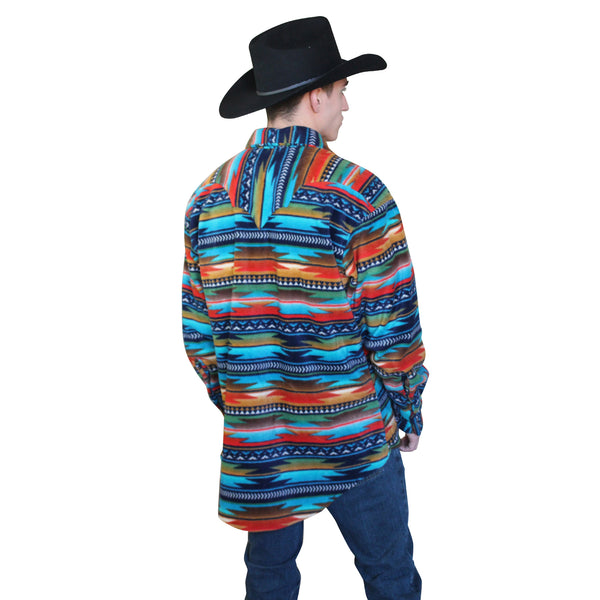 Men's Native Pattern Fleece Western Shirt in Navy & Orange