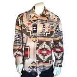 Men's Native Pattern Fleece Western Shirt in Tan & Brown