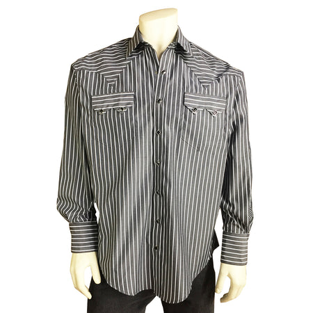 Men's Black Pima Cotton Herringbone Western Shirt