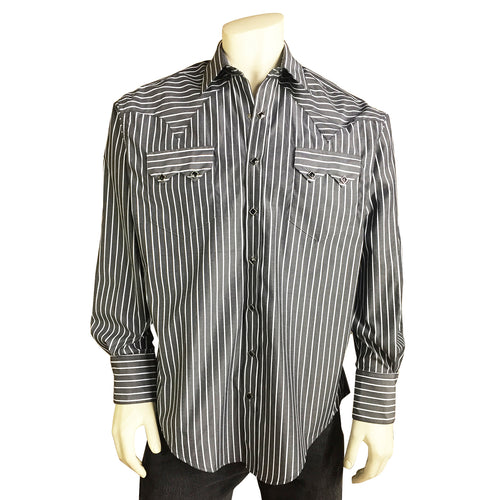 Men's Fine Cotton Striped Western Dress Shirt in Black