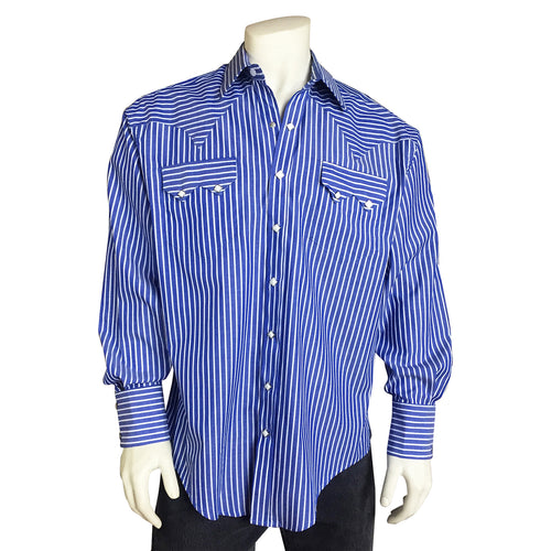 Men's Fine Cotton Striped Western Dress Shirt in Blue