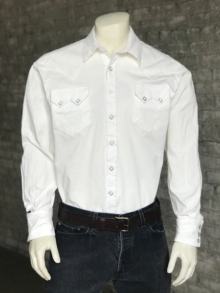 Men's Classic White Linen Western Shirt