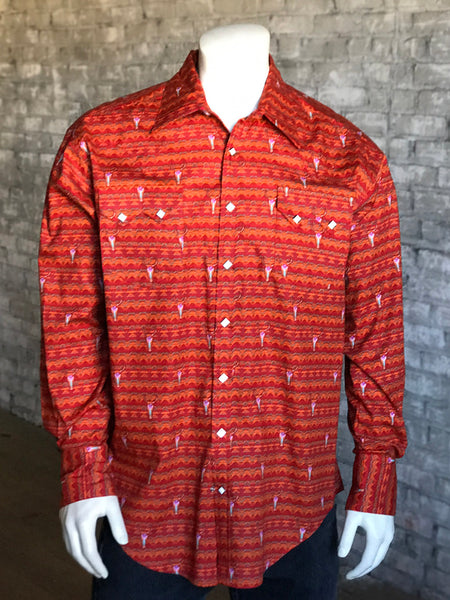 Men's Red Painted Skull Western Shirt - Rockmount