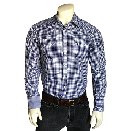 Men's Slim Fit Navy Gingham Western Shirt