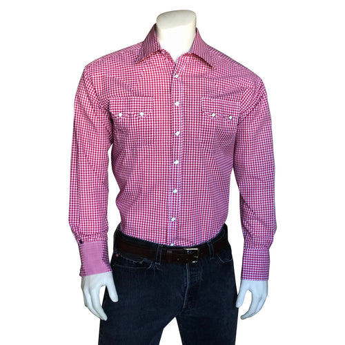 Men's Slim Fit Red Gingham Western Shirt