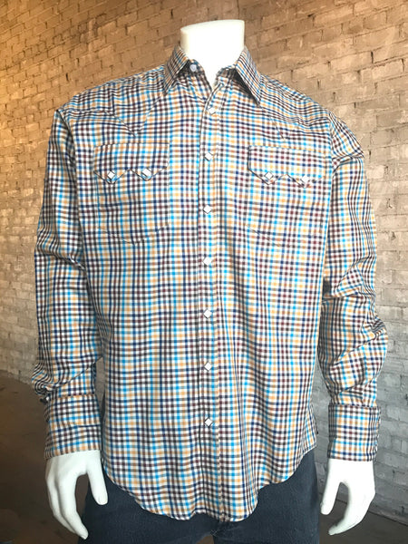 Men's Windowpane Check Western Shirt in Yellow, Brown & Navy