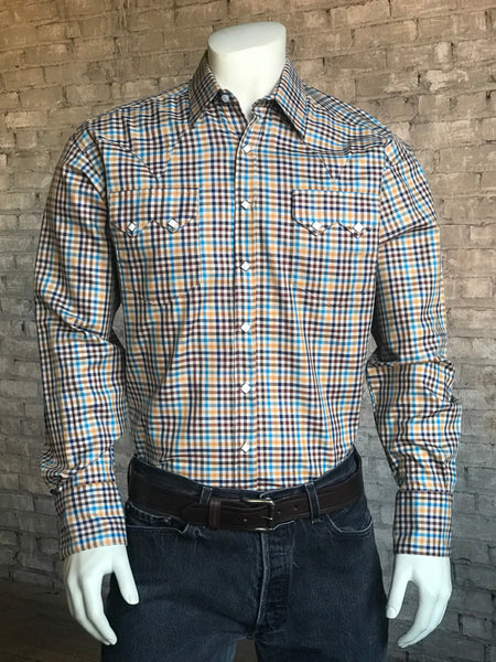 Men's Brown Cotton Tartan Plaid Western Shirt