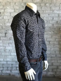 Men's Black Horseshoe Print Western Shirt - Rockmount