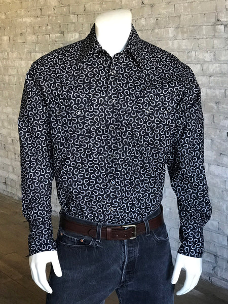 Men's Short Sleeve Hawaiian Print Western Shirt in Black