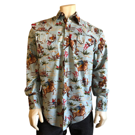 Men's American Stars Print Western Shirt in Navy