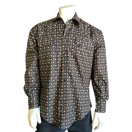 Men's Black Short Sleeve Musical Notes Print Western Shirt
