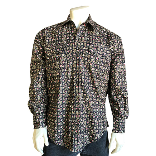 Men's Vintage Black Floral Print Western Dress Shirt