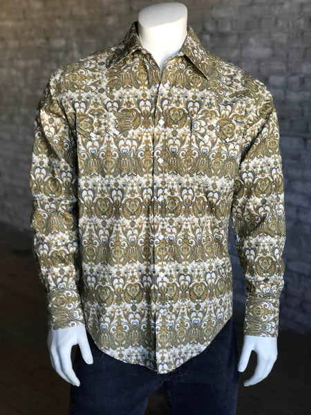 Men's Brown Foulard Print Western Shirt