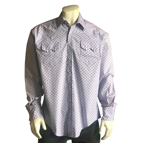Men's Vintage Red Dobby Western Shirt