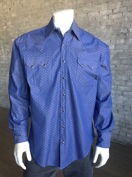 Men's Blue Floral Reverse Print Western Dress Shirt