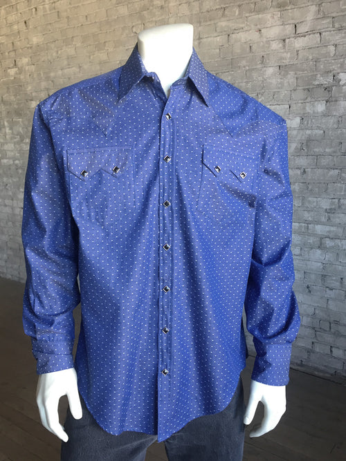 Men's Blue Chambray Dobby Blue Western Shirt - Rockmount
