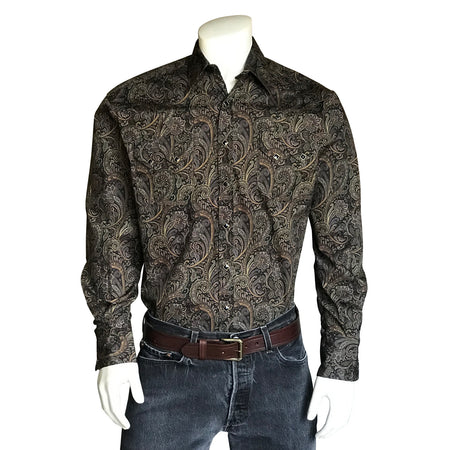 Men's Native Print Western Shirt in Cream & Tan