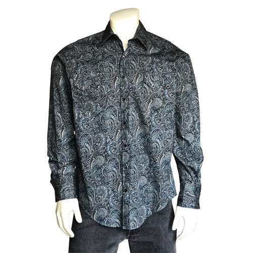 Men's Paisley Navy Print Western Shirt