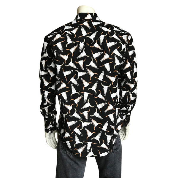 Men's Bison Skulls Print Western Shirt in Black
