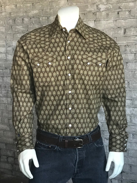 Men's Calf Skin Leather Western Shirt in Khaki