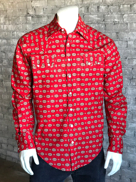 Men's Bison Skull Print Western Shirt