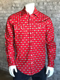 Men's Red Native Print Western Shirt - Rockmount