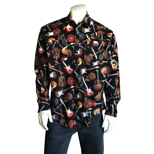 Men's Black Electric Guitars Print Western Shirt