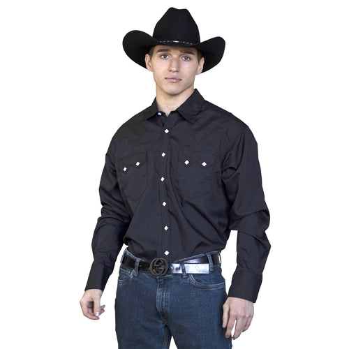 Men's Slim Fit Solid Black Cotton Blend Western Shirt