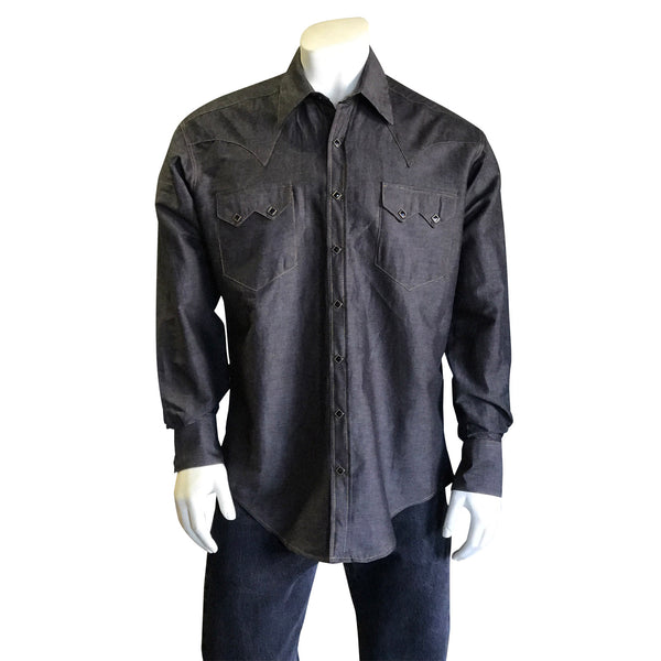 Men's Extra-Fine Cotton Black Chambray Western Shirt