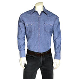 Men's Slim Fit Blue Chambray Western Shirt