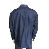 Men's Slim Fit Indigo Denim Western Shirt