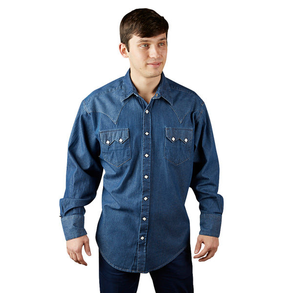 Men's Classic Stonewashed Denim Western Shirt