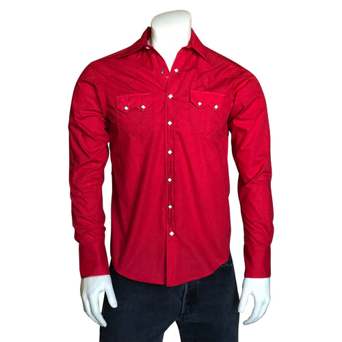 Men's Slim Fit Red Cotton Blend Western Shirt