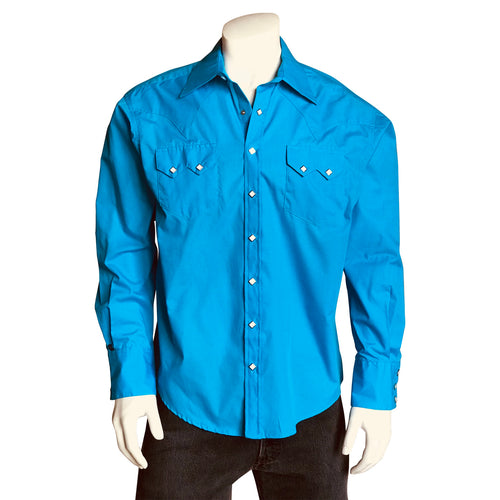 Men's Slim Fit Turquoise Cotton Blend Western Shirt