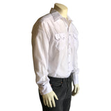 Men's Slim Fit White Cotton Blend Western Shirt
