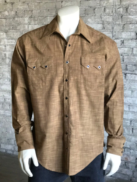 Men's Blue Chambray Dobby Blue Western Shirt
