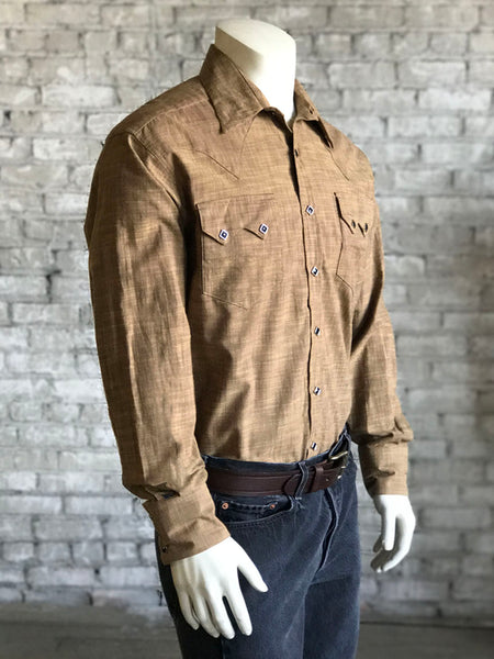 Men's Vintage Cross Hatch Brown Chambray Western Shirt - Rockmount