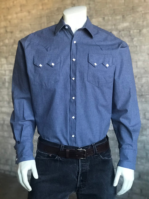 "Men's Cotton Herringbone Western Shirt in ""Denim"" (Pre-order) - Rockmount"