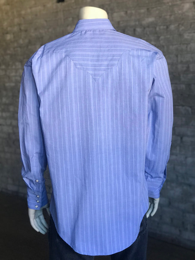 Men's Blue Chambray Stripe Western Dress Shirt