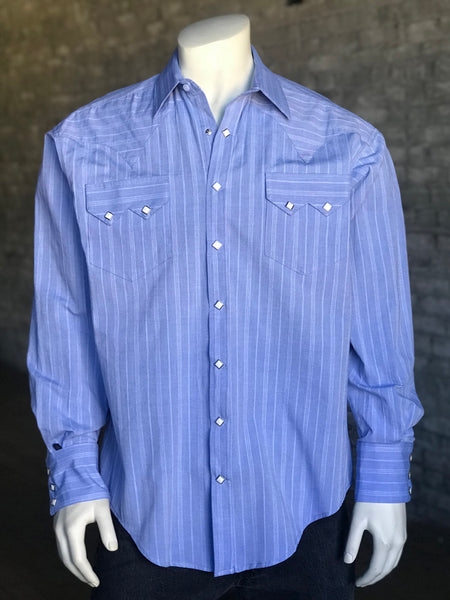 Men's Short Sleeve Blue Western Shirt with UV Protection