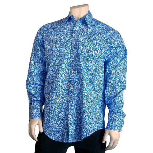 Men's Vintage Blue Floral Print Western Dress Shirt