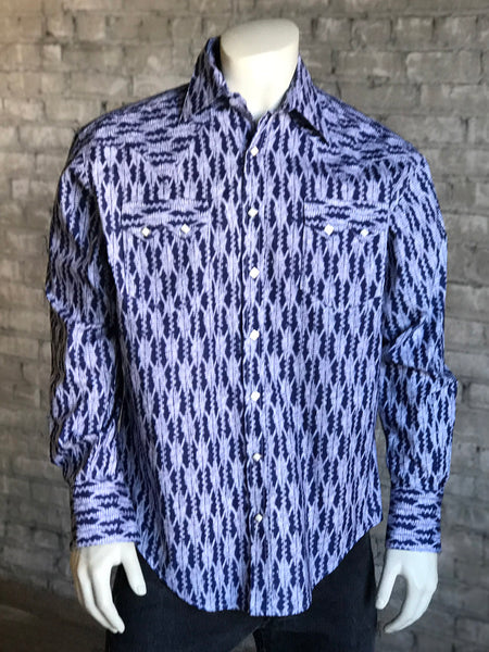 Men's Navy & Yellow Extra-Fine Pima Cotton Windowpane Plaid Western Shirt