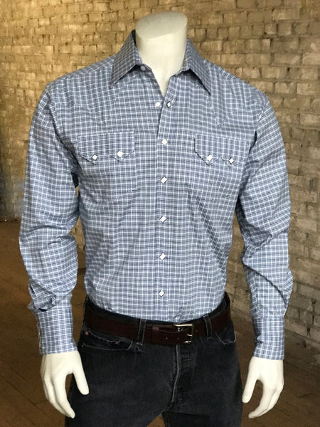 Men's Blue Seersucker Windowpane Short Sleeve Western Shirt