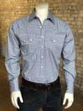 Men's Blue Windowpane Plaid Western Shirt - Rockmount