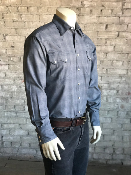 Men's Classic Blue Linen Western Dress Shirt