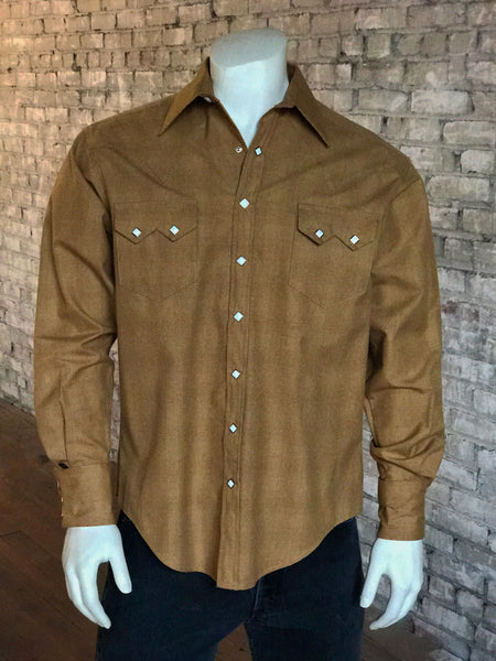 Men's Tencel Western Shirt in Taupe