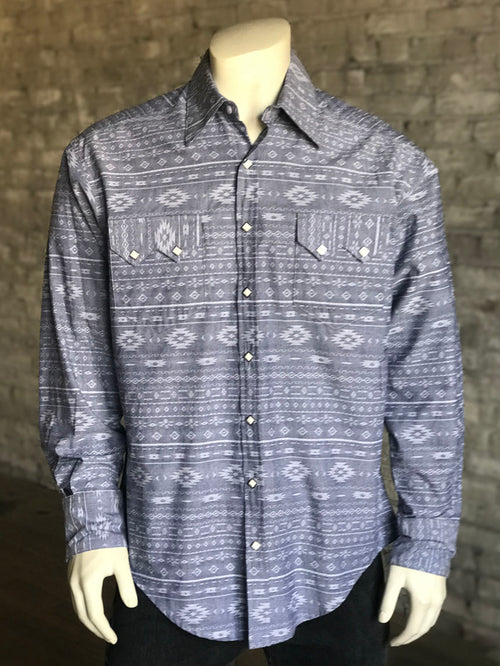 Men's Cotton Chambray Indigo Western Shirt - Rockmount