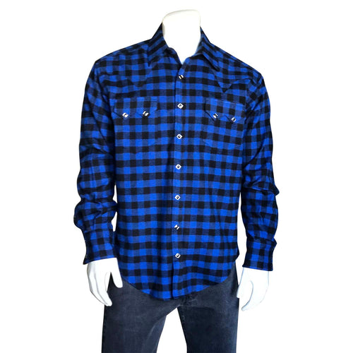 Men's Plush Blue & Black Buffalo Check Flannel Western Shirt