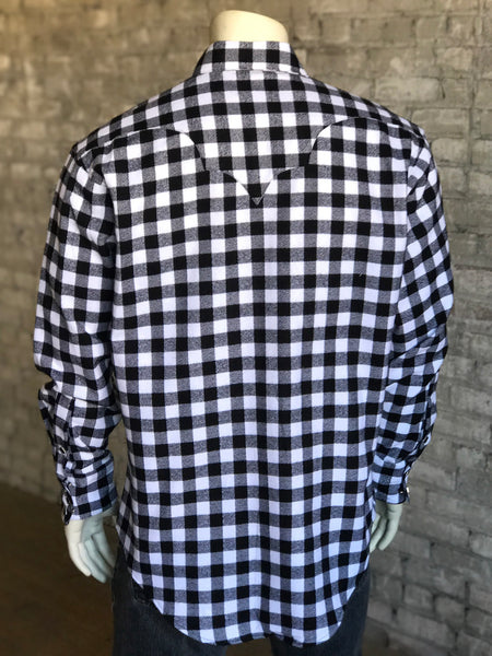 Men's Plush Flannel Black & White Plaid Western Shirt - Rockmount